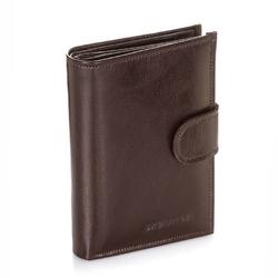 Skórzany portfel męski brodrene a-03 brązowy - brązowy