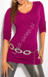 Amarantowy sweter z haftem na plecach  sweter z rękawem 34, 8011