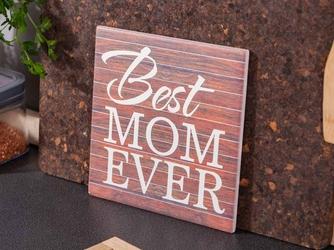 Deska dekoracyjna  podkładka pod garnek ceramiczna altom design best mom ever 20 x 20 cm