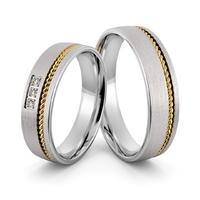 Obrączki srebrne z złotymi warkoczami i cyrkoniami - wzór ag-401