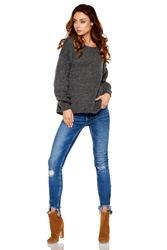 Oversizowy grafitowy sweter z bufiastym rękawem