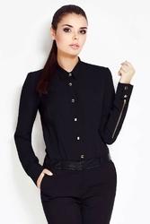Czarna koszula damska z suwakami