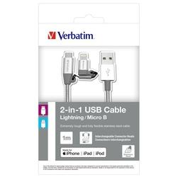 Kabel usb 2.0, usb a m- usb micro m, 1m, srebrny, verbatim, box, 48869, regulowana końcówka lightning