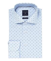 Elegancka błękitna koszula profuomo slim fit w drobną kratkę i kolorowy wzorek 44