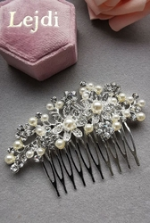 Ślubny grzebyk z cyrkoniami i perełkami, spinka ozdobna do włosów