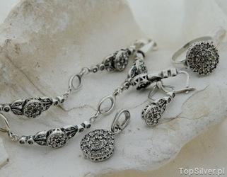 Wiedeń 2 - srebrny komplet z kryształami