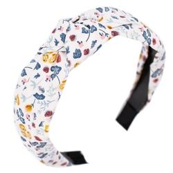 Opaska do włosów biała kwiaty pin up turban węzeł