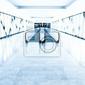 Fototapeta niebieski szklany korytarz w centrum biurowe
