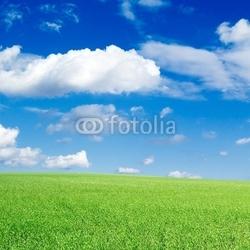 Plakat na papierze fotorealistycznym zielone pole, błękitne niebo, białe chmury