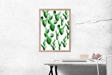Kaktusy wzór - plakat wymiar do wyboru: 29,7x42 cm