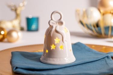 Ozdoba  dekoracja świąteczna  figurka porcelanowa dekoracyjna święta boże narodzenie altom design dzwonek z lampkami led 7 x 7 x 10,5 cm