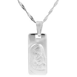 Srebrny duży medalik matka boska z dzieciątkiem dedykacja