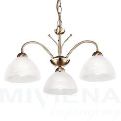 Milanese lampa wisząca 3 patyna szkło
