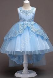 Błękitna dziecięca sukienka wieczorowa z dopinaną kokardką z trenem  584