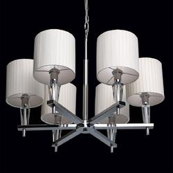 Nowoczesna 6-ramienna lampa wisząca z polerowanego chromu i plisowanymi kloszami 460010706