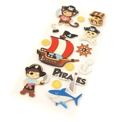 Dziecięce naklejki 3d - piraci - 14 sztuk - piraci