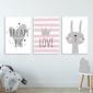 Zestaw plakatów dziecięcych - lovely rabbit , wymiary - 30cm x 40cm 3 sztuki, kolor ramki - biały