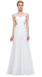 Delikatna biała długa suknia wieczorowa drapowana na gorsecie