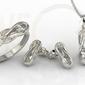 Zestaw: pierścionek, kolczyki i wisiorek z białego złota z białymi szafirami bp-69b-zestaw - białe  szafir white