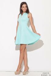 Zielona Rozkloszowana Sukienka z Ozdobnym Suwakiem
