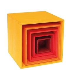Drewniane pudełka 0+, odcienie pomarańczowego, grimms - pomarańczowe