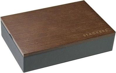 Pudełko na spinki z drewnianą pokrywką stackers
