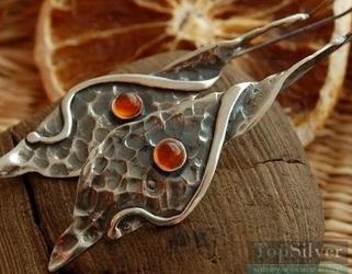 Secesja - srebrne kolczyki z bursztynem ręcznie zrobion