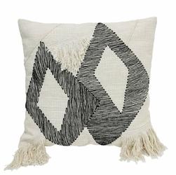 HK Living :: Poduszka kwadratowa z trójkątnym wzorem i frędzlami, biało-czarna 50x50