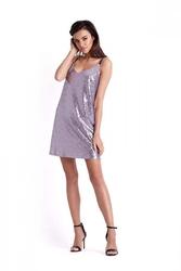 Liliowa cekinowa sukienka trapezowa na cienkich ramiączkach