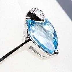 Skrywane pragnienia srebrny pierścionek z niebieskim topazem delikatny