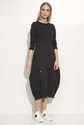 Grafitowa sukienka asymetryczna bombka midi z długim rękawem
