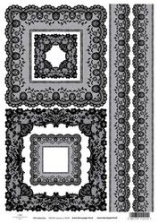Papier ryżowy ITD A4 R438 koronkowe dekory