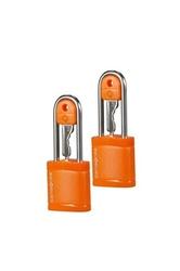 Dwie pomarańczowe kłódki na klucz - orange