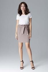 Mocca mini spódnica z marszczeniami