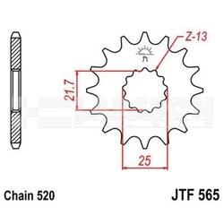 Zębatka przednia jt f565-18, 18z, rozmiar 520 2201356 kawasaki kle 650