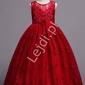 Wspaniała suknia dla dziewczynki w kolorze czerwonego wina 831