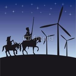 Obraz na płótnie canvas czteroczęściowy tetraptyk Don quijote ilustracji wektorowych cartoon sylwetka