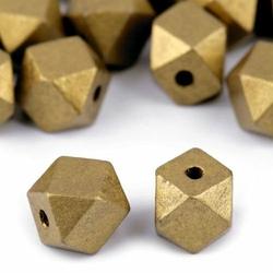 Koralik drewniany ZŁOTY metaliczny 15x20mm - złoty