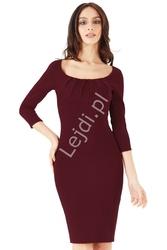 Elegancka sukienka z marszczeniem na biuście - ciemne wino 765