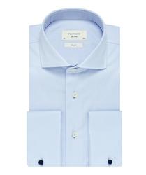 Elegancka błękitna koszula męska taliowana slim fit z mankietami na spinki 37