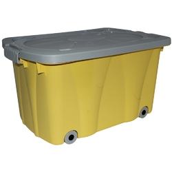 Pojemnik do przechowywania  na zabawki z pokrywą na kółkach plastikowy artgos kliper żółty