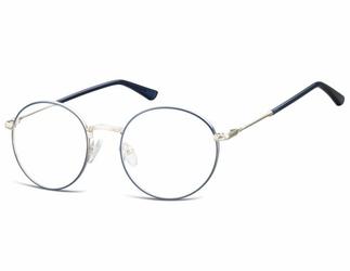 Lenonki okrągłe okulary oprawki optyczne 919d srebrno-niebieskie