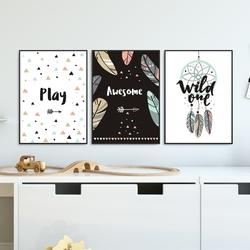 Zestaw plakatów dziecięcych - awesome dream , wymiary - 60cm x 90cm 3 sztuki, kolor ramki - biały