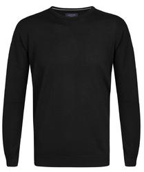 Elegancki czarny sweter prufuomo originale z delikatnej wełny merynosów z okrągłym kołnierzem xxl