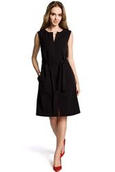 Czarna wyjściowa sukienka bez rękawów z plisą