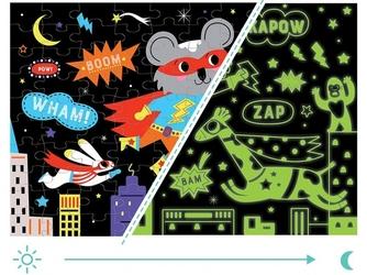 Superbohaterowie tekturowe puzzle świecące w ciemności 100 el.