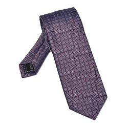 Niebiesko czerwony jedwabny krawat we wzór DŁUGI