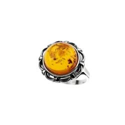 pierścionekrozmiar16 srebro i bursztyn