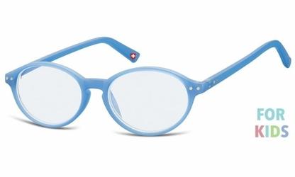 Dziecięce okulary z filtrem niebieskim do komputera zerówki lenonki kblf2b niebieskie