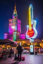 Pałac kultury pod gitarą - plakat premium wymiar do wyboru: 90x120 cm